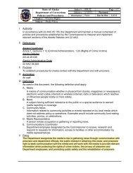 Prisoner/Media Contact - Alaska Department of Corrections