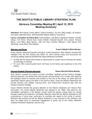 The Seattle Public Library Strategic Plan: Advisory Committee ...