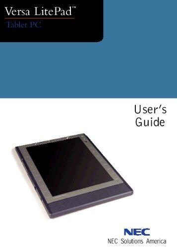 NEC Versa LitePad Tablet PC User's Guide - Support - NEC