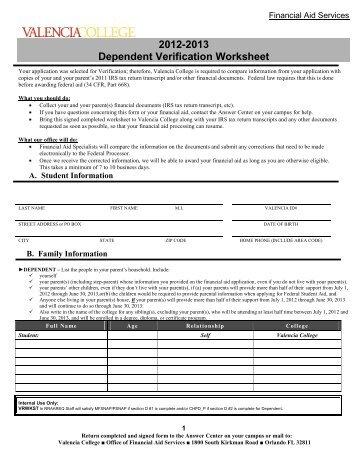 2012 2013 dependent verification worksheet valencia college - Dependent Verification Worksheet