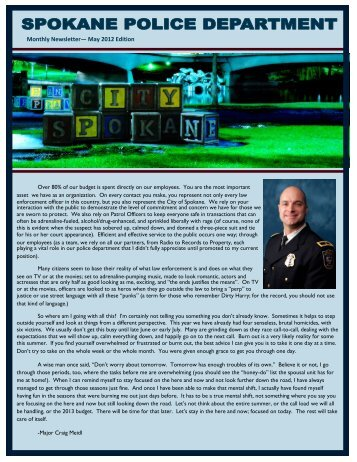 Monthly Newsletter— May 2012 Edition - Spokane Police Department
