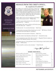 September 2009 Edition Spokane Police Department Newsletter