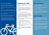 Locking your bike Lock your bike Out and about Cycle safely - Spokes