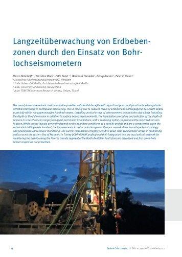 Langzeitüberwachung von Erdbebenzonen durch den Einsatz von Bohrlochseismometern