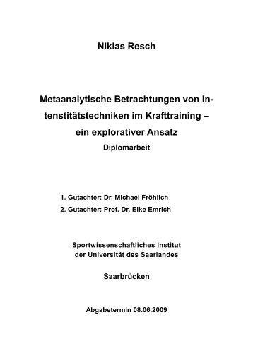 ein explorativer Ansatz - Sport & Training