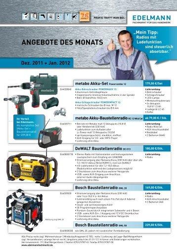 angebote Des monats - EDELMANN - Fachmarkt für das Handwerk