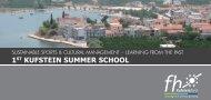 1ST KUFSTEIN SUMMER SCHOOL