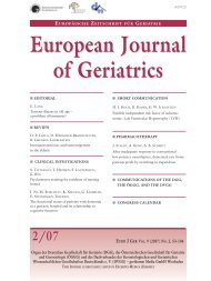 European Journal of Geriatrics European Journal of Geriatrics