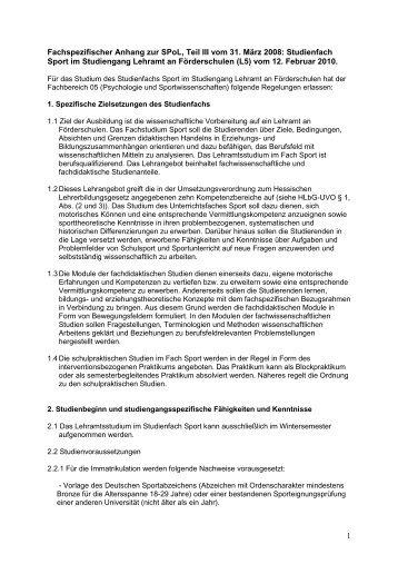 Fachspezifischer Anhang der Studienordnung mit Modulplan NEU