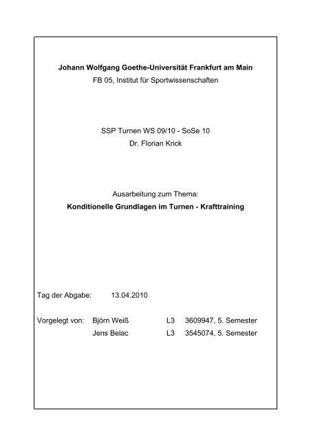 Ausarbeitung Kraft - Institut für Sportwissenschaften - Goethe ...