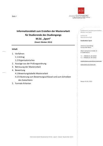 Masterarbeit (M.Ed.) - Fachbereich Sport der Universität Mainz