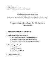 Programmatische Grundlagen des Schulsports in Deutschland