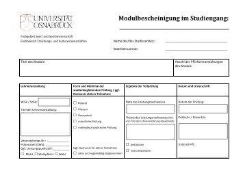 Modulbescheinigung im Studiengang - Fachgebiet Sport und ...