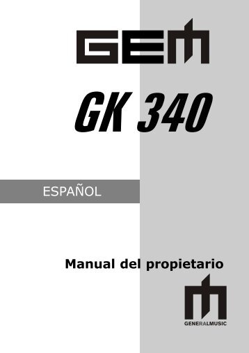 ESPAÑOL Manual del propietario - Generalmusic.us