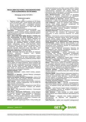 Regulamin ROR - obowiązujący od 15.07.2013 r. [pdf ... - Getin Bank