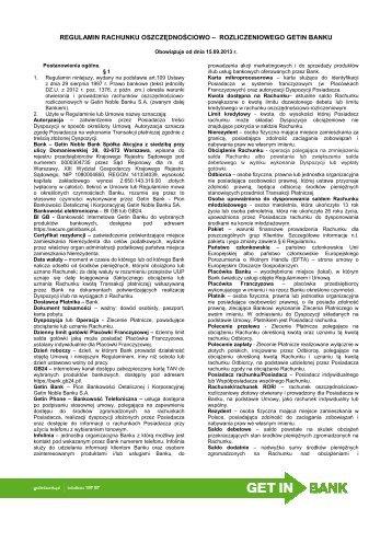 Regulamin ROR - obowiązujący od 15.09.2013 r. [pdf ... - Getin Bank