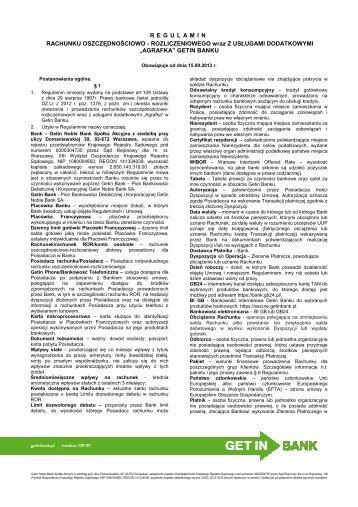 Regulamin ROR Agrafka - obowiązujący od 15.09 ... - Getin Bank