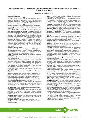 Regulamin GB24 - obowiązujący od 15.09.2013 r. [pdf ... - Getin Bank