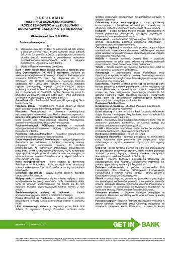 Regulamin ROR Agrafka - obowiązujący od 15.07 ... - Getin Bank