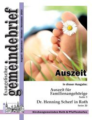 Evang. Kirchengemeinde Roth - Gemeindebrief August - November 2014