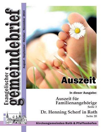 """Evang. Kirchengemeinde Roth - Gemeindebrief August - November 2014 """"Auszeit"""""""