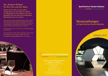 Veranstaltungen 2013 (2 MB) - SportCentrum Kamen Kaiserau