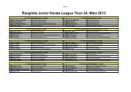 Rangliste Junior Karate League Thun 24. März 2013 - Sportdata.org
