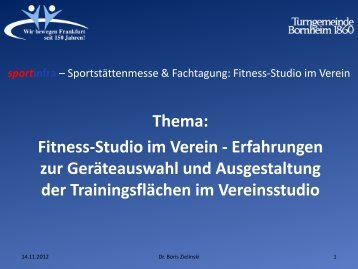 Erfahrungen zur Geräteauswahl und Ausgestaltung der ... - Sportinfra