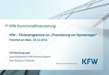 KfW - Förderprogramme zur Finanzierung von ... - Sportinfra