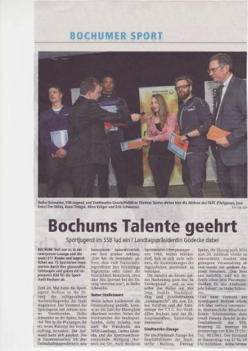 Bochums Talente geehrt - Sportjugend Bochum