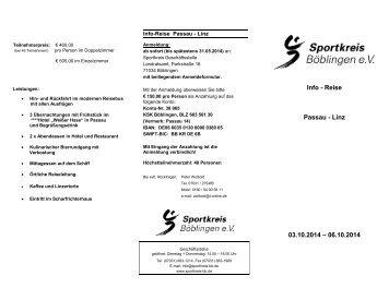 Info - Reise Passau - Linz 03.10.2014 - Sportkreis Böblingen