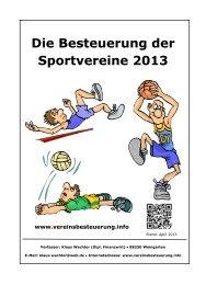 Die Besteuerung der Sportvereine 2013 - Sportkreis Heidelberg e.V.