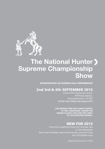Hunter Show Schedule 2013 - Sport Horse Breeding of Great Britain