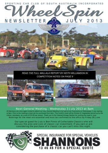 July 2013 WheelSpin - Sporting Car Club of SA