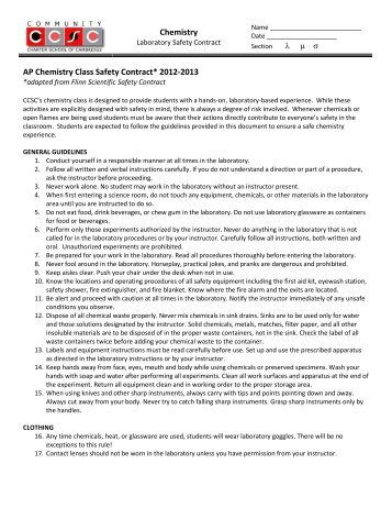 Science Laboratory Safety Contract for Geology Students Science ...