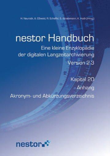 Anhang Akronym- und Abkürzungsverzeichnis - nestor