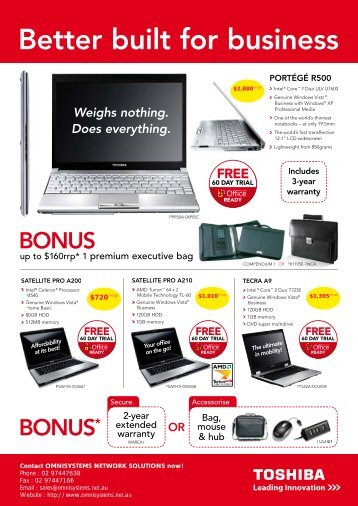 Toshiba - Bonus Offers on Notebooks, Projectors and ... - Omnisystems