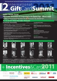 2. International Gift Card Summit 2011 21. - 22. Juni 2011