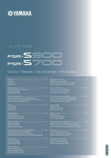 PSR-S900/S700 Data List - Yamaha