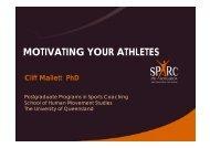 Dr Cliff Mallett - motivating your athletes
