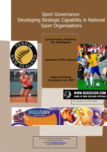 Developing Strategic Capability in National Sport Organisations
