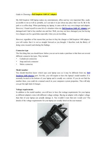 Guide to Choosing a Dell Inspiron 1440 AC Adapter.pdf