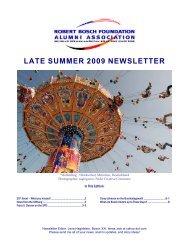 LATE SUMMER 2009 NEWSLETTER - Robert Bosch Foundation ...