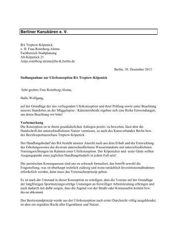 Stellungnahme Berliner Kanubären - Sporton.de