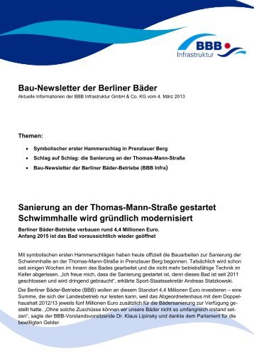 Newsletter der BBB - 03/2013 - SportOn.de