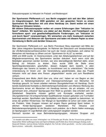 Diskussionspapier zu Inklusion im und durch Sport - SportOn.de