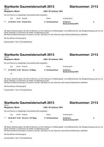 Startkarte Gaumeisterschaft 2013 Startnummer: 2113 ... - SportOn.de