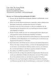 Univ.-Prof. Dr. Georg Wydra - Arbeitsbereich Sportpädagogik