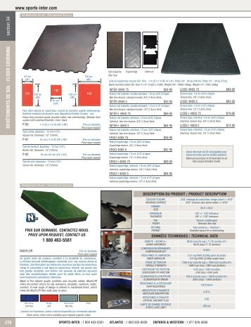 FLOOR COVERING 1 800 463-5561 - Sports-Inter