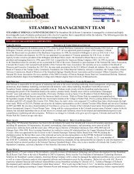 steamboat management team